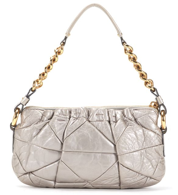 MARC JACOBS Gray Quilted Leather Gold Chain Shoulder Bag