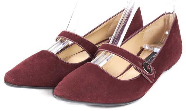 MARC JACOBS Burgundy Red Suede Mary Jane Pointed Toe Flats