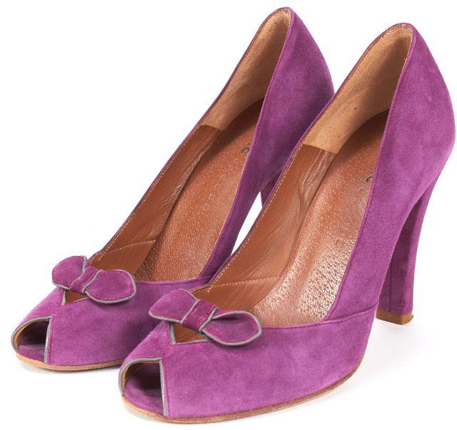 MARC JACOBS Purple Suede Leather Peep-Toe Pumps Heels