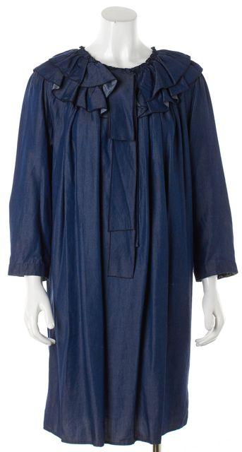 MARC JACOBS Blue Chambray Ruffled Collar Shift Dress