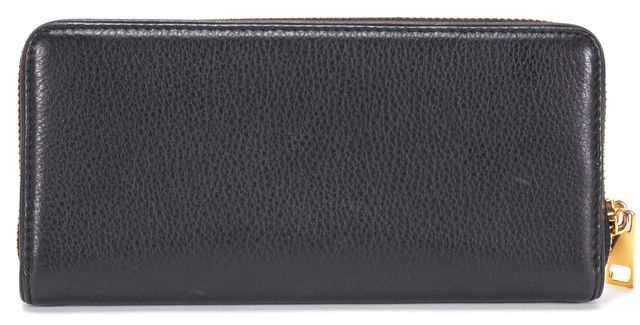 MARC JACOBS Black Pabbled Leather Gold Zip Around Continental Wallet