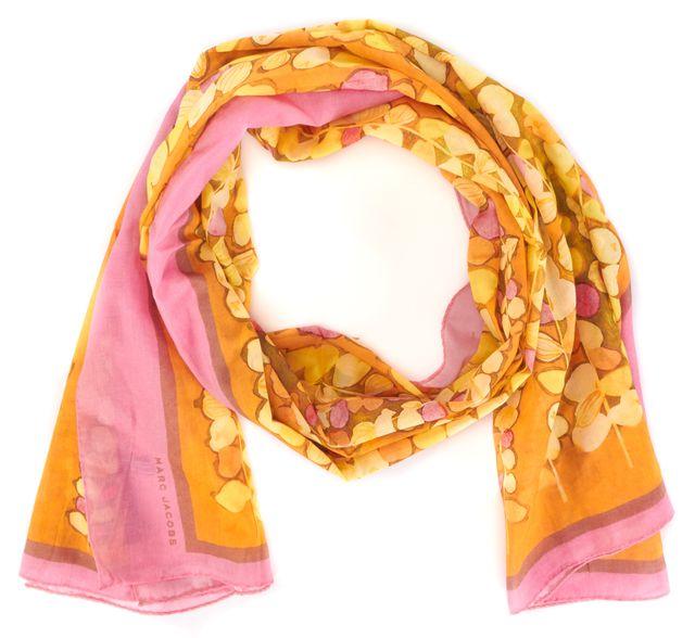 MARC JACOBS Orange Pink Floral Cotton Scarf