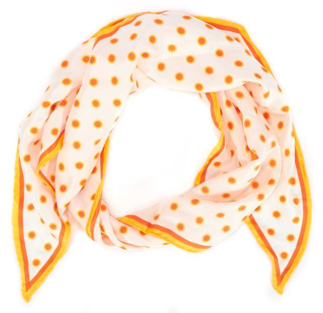 MARC JACOBS Orange White Polka Dot Silk Scarf
