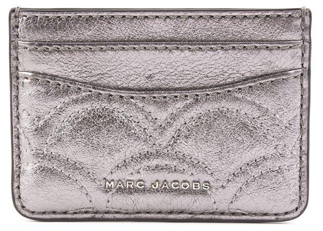MARC JACOBS Gray Metallic ID Holder Card Case