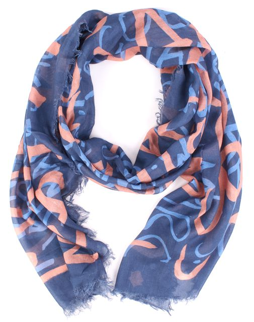 MARC JACOBS Blue Abstract Scarf