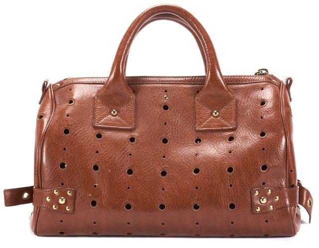 MARC JACOBS Cognac Leather Cut-Out Tassel Brigitte Satchel Bag