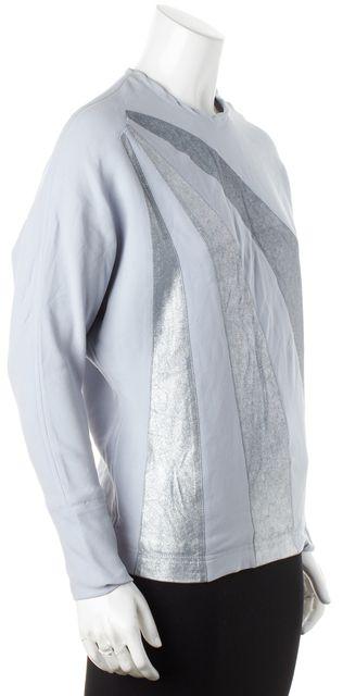 MARC JACOBS Blue Silver Glitter Detail Silk Blouse