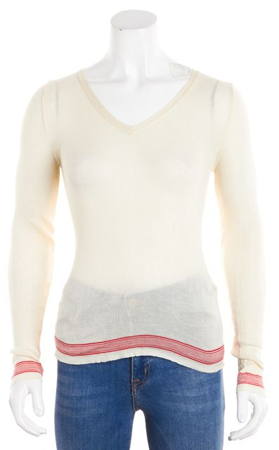 MARC JACOBS Ivory V-Neck Red Trim Thin Sweater