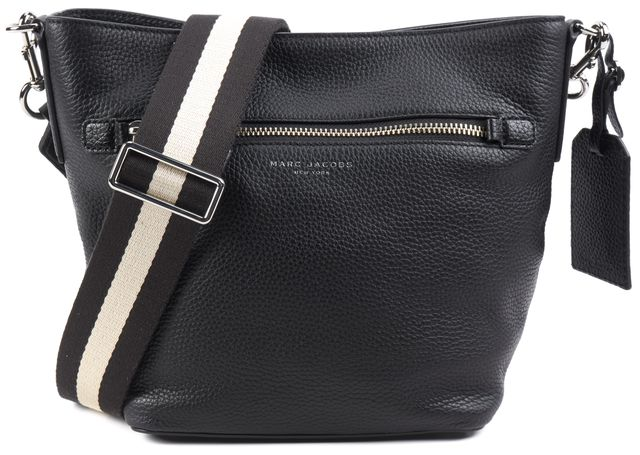 MARC JACOBS Black Leather Black and White Strap Crossbody