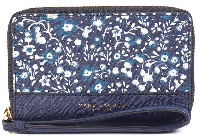 MARC JACOBS Blue Leather Floral Wallet