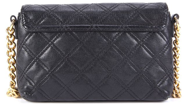 MARC JACOBS Black Quilted Leather Gold-Tone Hardware The Single Crossbody Bag