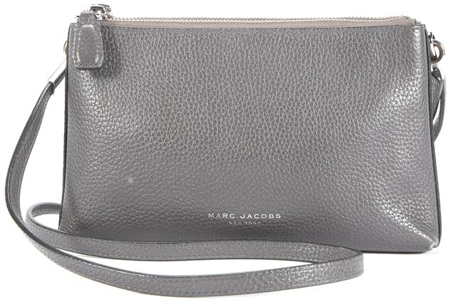 MARC JACOBS Gray Silver Tone Zip Convertible Leather Clutch Crossbody