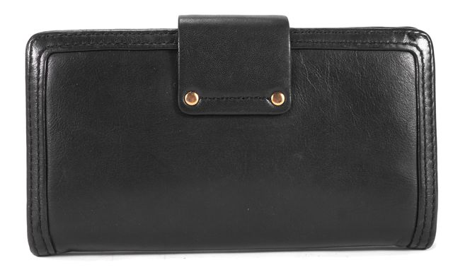 MARC JACOBS Navy Blue Twist & Turn Clasp Leather Wallet