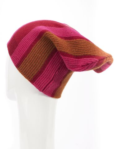 MARNI Red Pink Brown Striped Knit Wool Beanie Hat Size M
