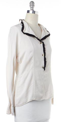 MARNI White Black Ruffle Trim Long Sleeve Blouse Top