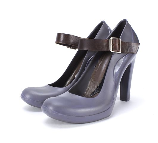 MARNI Gray Rubber Mary Jane Pump Heels Size 40