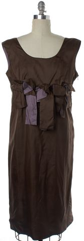 MARNI Brown Purple Silk Sheath Dress