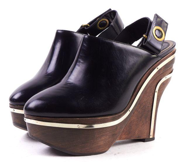 MARNI Black Leather Sling Back Wood Wedge Heels