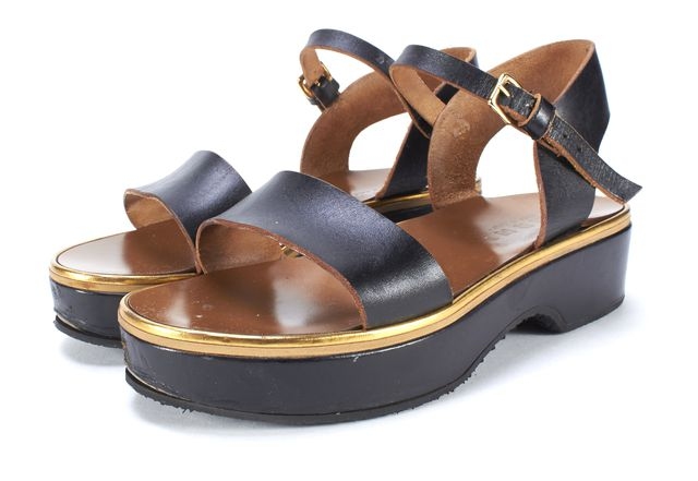 MARNI Black Brown Leather Ankle Strap Wedge Sandals Size 36
