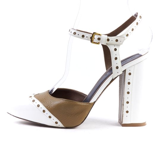 MARNI Brown Ivory Leather Oxford Mary Jane Block Heels