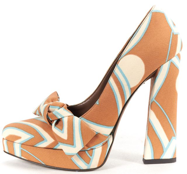 MARNI Brown Blue Canvas Bow Pointed Toe Platform Block Heels