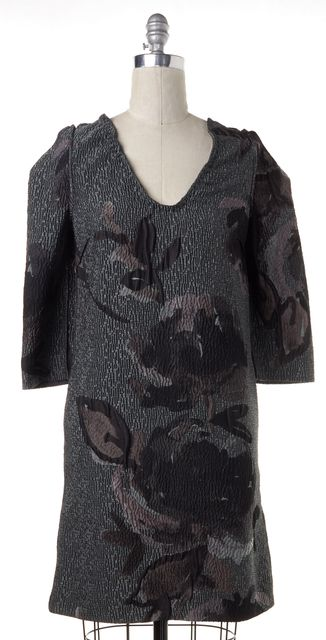 MARNI Gray Medium Sleeve Floral Jacquard Bizantino Shift Dress