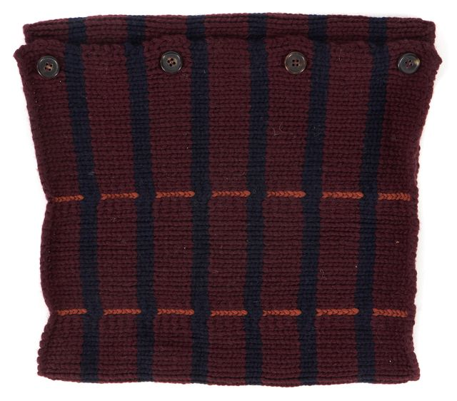 MARNI Burgundy Red Navy Striped Chunky Knit Wool Buttoned Neckwarmer Snood Scarf