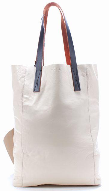 MARNI Ivory Leather Black Strap Red Lining Tote Shoulder Shopping Bag