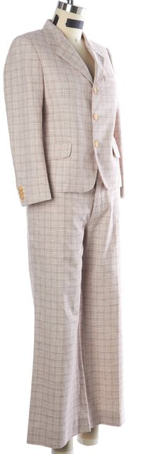 MARNI White Red Crosshatch Check 3-Button Blazer Pant Suit Set
