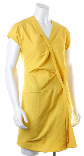 MARNI Yellow V-Neck Short Sleeve Gathered Shift Dress