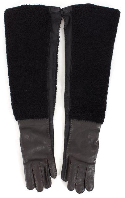 MARNI Black Pebbled Leather Shearling Long Gloves
