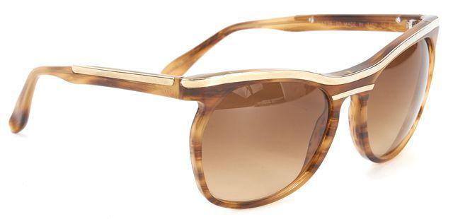 MARNI Brown Acetate Gold Metal Trim Round Gradient Lenses Sunglasses