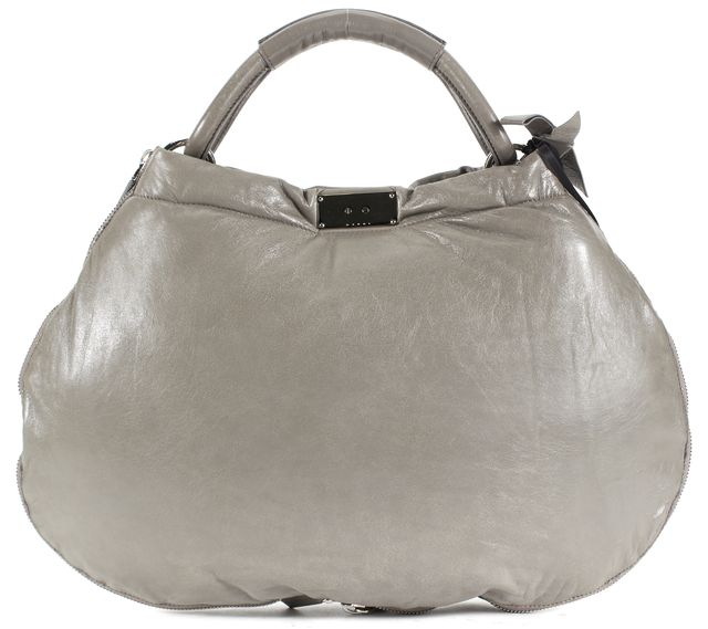 MARNI Gray Leather Silver Zip Trim Turn Lock Hobo Shoulder Bag