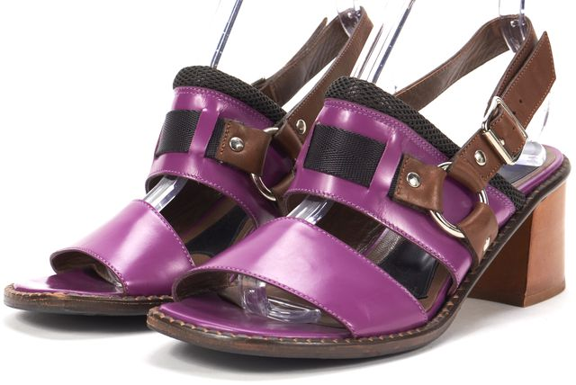 MARNI Purple Brown Leather Mesh Block Heel Sandals