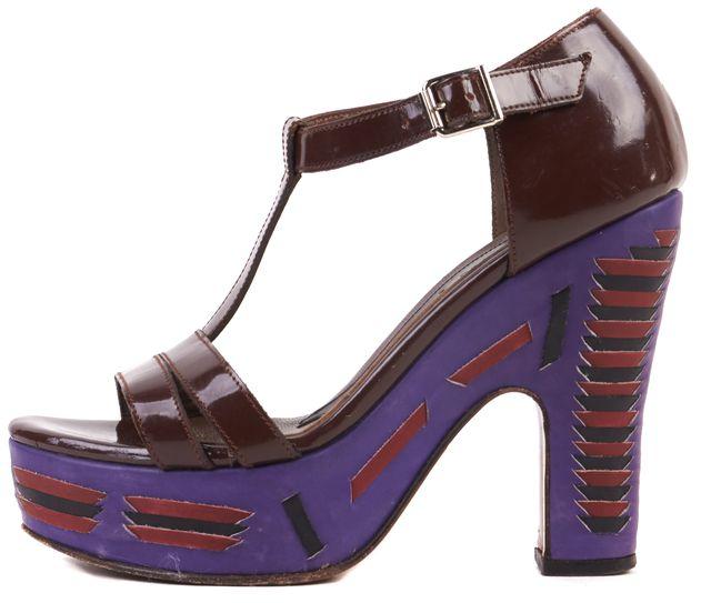 MARNI Brown Purple Patent Leather T-Strap Platform Sandal Heels