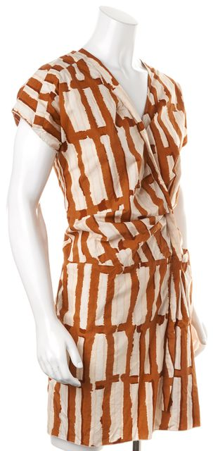 MARNI Orange Beige Abstract Print Knee-Length Shift Dress