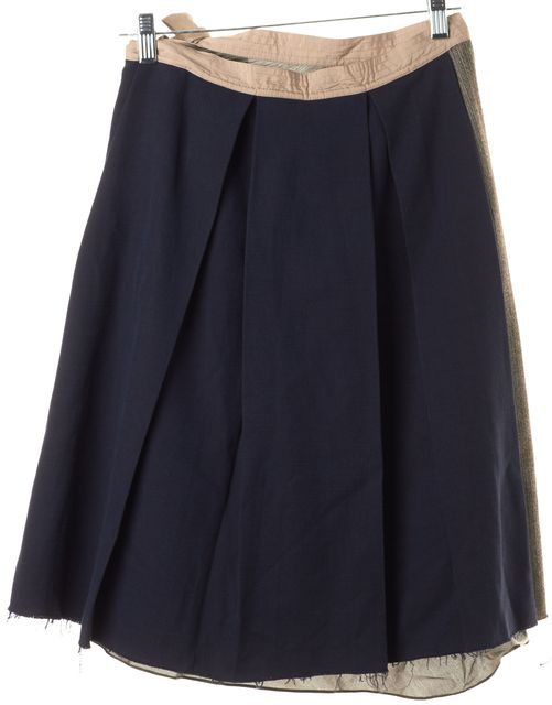 MARNI Navy Blue Brown Colorblock Pleated Skirt