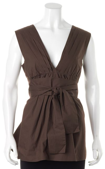 MARNI Brown Cotton Sleeveless Deep V-Neck Belted Blouse Top