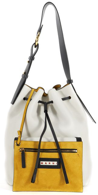 MARNI White Black Leather Drawstring Adjustable Strap Bucket Shoulder Bag