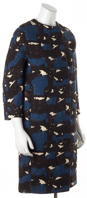 MARNI Blue Abstract 3/4 Sleeve Pocket Wool Coat Jacket