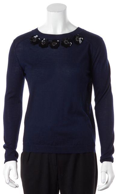 MARNI Navy Blue Black Embellished Flowers Crewneck Sweater