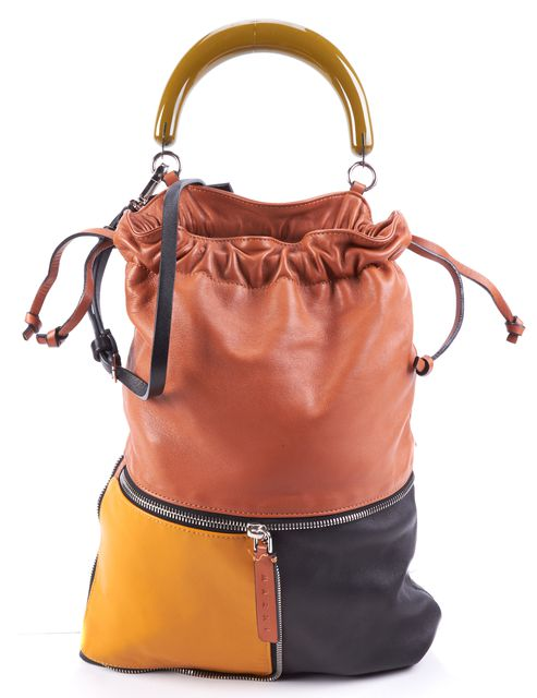 MARNI Black Brown Mustard Leather Top Handle Bucket Shoulder Bag
