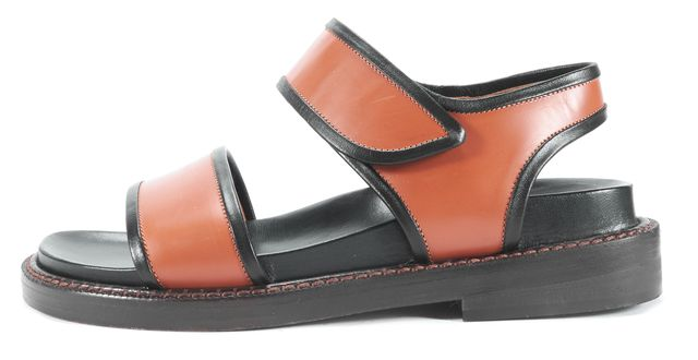MARNI Brown and Black Ankle Wrap Chunky Platforms Sandals