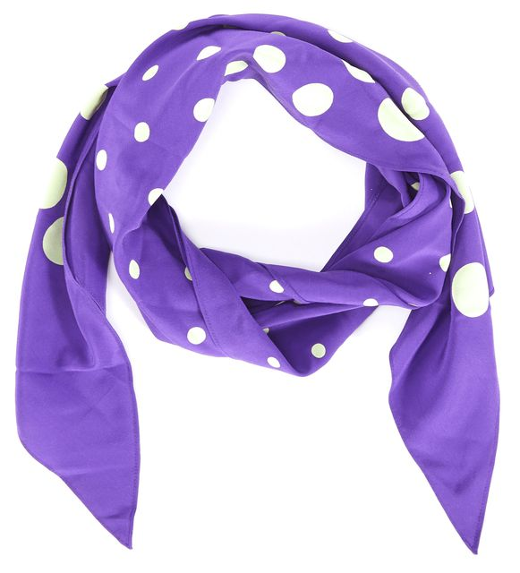 MARNI Purple Yellow Polka Dot Silk Scarf