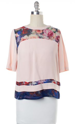 MSGM Light Pink Blue Floral Blouse Top