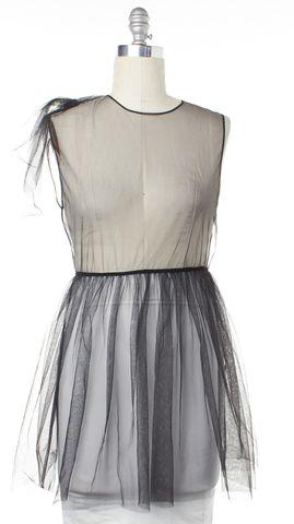 MSGM Black Sheer Mesh Fit Flare Dress Size 2 IT 38