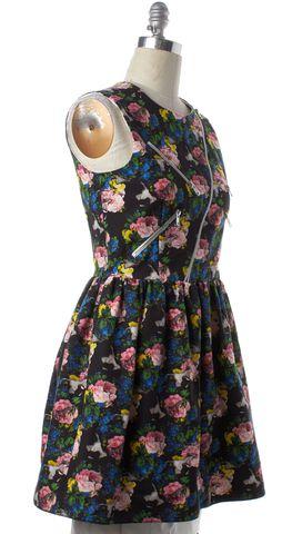 MSGM Black Multicolor Floral Print Bubble Dress
