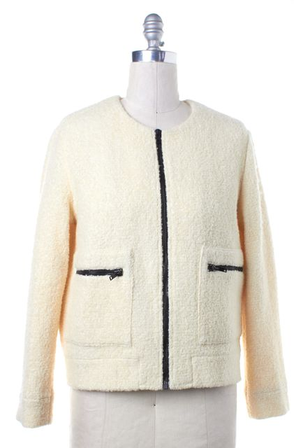 MSGM Ivory Wool Knit Black Zip Up Jacket