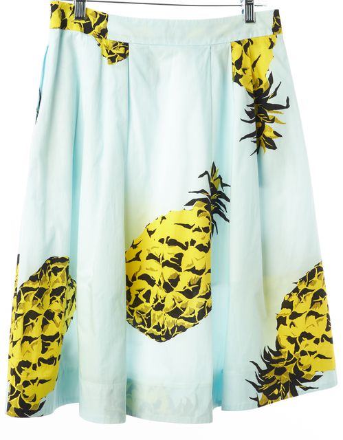 MSGM Blue Yellow Black Abstract Pineapple Print A-Line Pleat Skirt