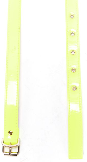 MSGM Neon Yellow Patent Leather Skinny Waist Belt